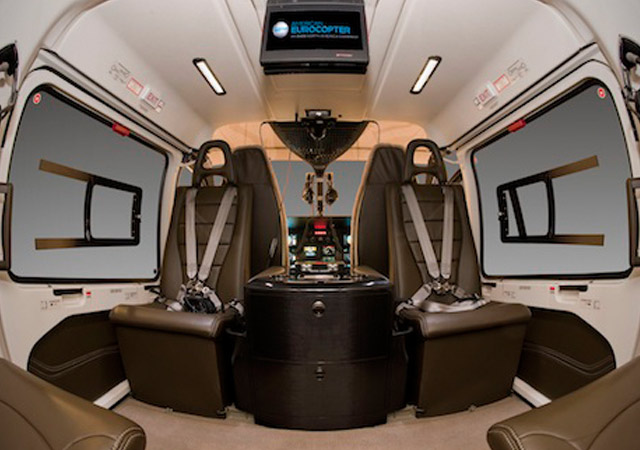 The inside of a Eurocopter 145