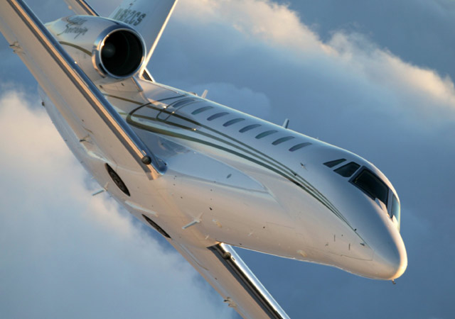Citation Sovereign flying through the clouds