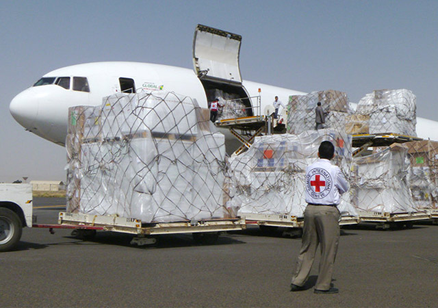 Cargo plane loading up for humanitarian relief