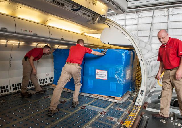 Humanitarian relief supplies shipped via cargo plane