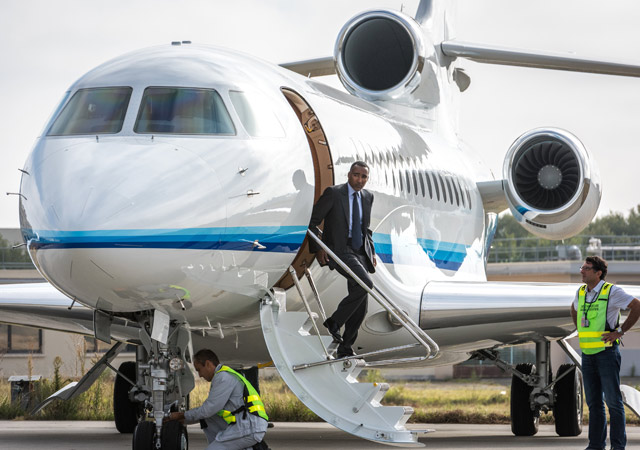 Fly a Falcon 8X to business meeting
